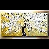 Hohe Qualität handbemalt Landschaft abstrakt Palette Ölgemälde Gold Snow White Cherry Tree Wandbild Ölgemälde House Wohnzimmer Artwork, canvas, Gold / Weiß, 32x64inch(80x160cm)