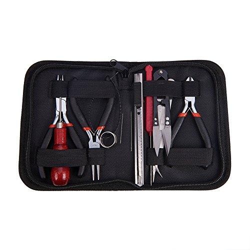 PandaHall 12 Teiliges DIY Schmuck Werkzeug Scheren Sets zur Schmuckherstellung Perlenstickerei mit Lagen, Schere und Stifte, Schwarz, 155x110x35 mm