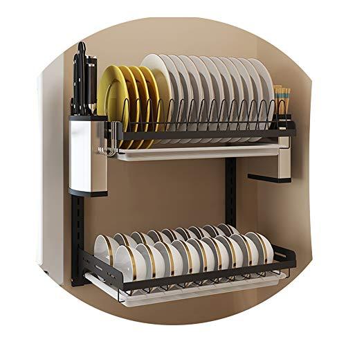Jansudy scaffale da cucina a muro scolapiatti portaoggetti in acciaio inox posate