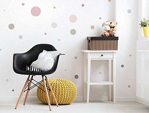 """I-love-Wandtattoo WAS-10378 Kinderzimmer Wandsticker Set """"Pastell Kreise in sanften Farbnuancen"""" 25 Stück Punkte zum Kleben Wandtattoo Wandaufkleber Sticker Wanddeko"""