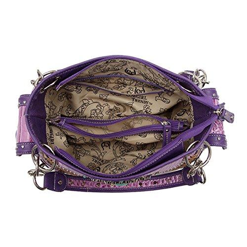 Borse da donna nascoste trasportano il fucsia occidentale della borsa trasversale del Rhinestone VIOLA