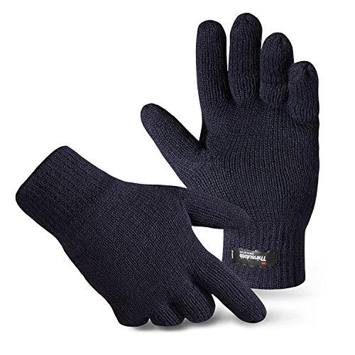 1 Paar gestrickte Thinsulate Handschuhe mit Fleecefutter Navy S/M