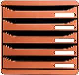 Exacompta Big Box Plus Classic Mandarine mit 5 Schubladen / Stapelbare Schubladenbox für mehr Platz auf dem Schreibtisc