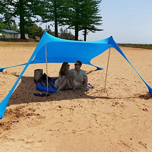 Strand Schatten Zelt Sun Shelter Familie Strand Sonnenschutz UV Schutz Tragbare Sonnenschutz Große Leichte Baldachin Strand Zelte mit Sandsack Anker 4 Free Pegs für Beach Fishing Camping Garden (Zelt Strand Uv)