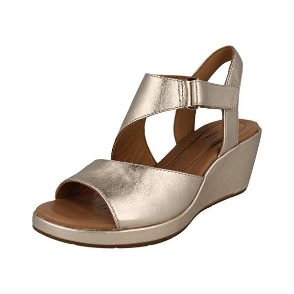 Clarks Womens Gold Leather  Un Plaza Sling  Mid Wedge Heel Sandals ... 8892629fb