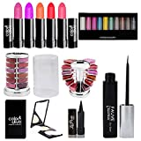 Adbeni Summer Vacation Combo Offer Makeup Set (10 Color Eyeshadow,Eyeliner Lipgloss Pallet 12 Color,Kajal,Compact Powder,Lipstick-4 Pcs)
