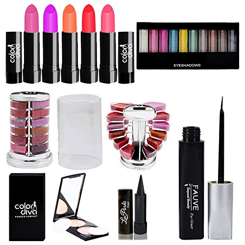 adbeni Combo Makeup Set (10 Color Eyeshadow,Eyeliner Lipgloss Pallet 12 Color,Kajal,Compact Powder,Lipstick-4...