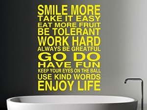 smile more wall art sticker bright yellow small amazon co uk