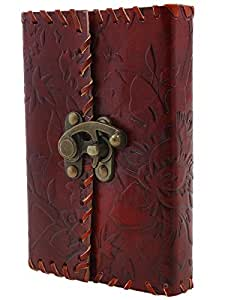 Christmas Gifts Leather Diary Journal Notebook With a Lock Hand Embossed & 100 Unlined Eco-friendly Pages New Year 2017 Diary