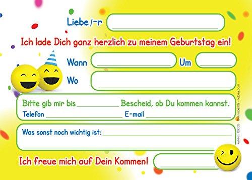 12 Einladungskarten Zum Kindergeburtstag U201elustige Emoji / Smileyu201c Für  Mädchen Und Jungen / Bunte