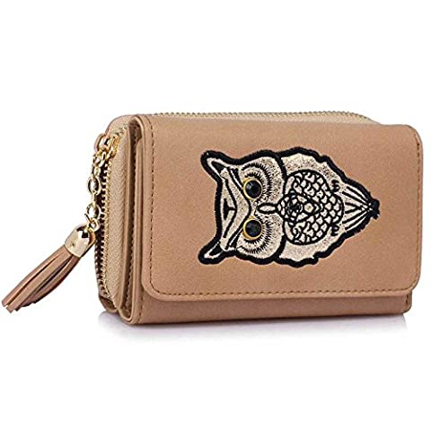 Womens Wallet Purse Ladies Coin Purses High Quality Girls Card Holder Owl Purse Tassel Bag With Top Zip Closure And Gold Metal Work