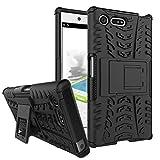 FoneExpert® X Compact Handy Tasche, Hülle Abdeckung Cover schutzhülle Tough Strong Rugged Shock Proof Heavy Duty Case für Sony Xperia X Compact (Schwarz)