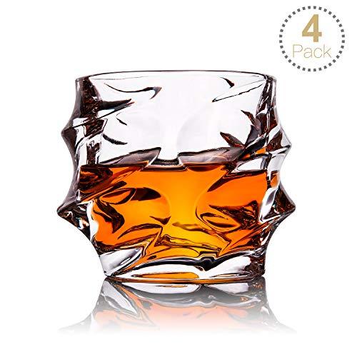 TOPLANET Whisky Gläser Set of 4 Ultra Clearity Whiskygläser Bleifreies, Old Fashioned Glass mit 4-teiligen Matten, Kristallgläsern zum Trinken von Bourbon, Cocktails, Scotch, Wodka, 330ml