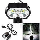 Lumière vélo Covermason 6000LM 2 X cri XM-L T6 LED USB imperméable à l'eau lampe de vélo phare