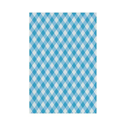 gthytjhv Checkered Blue and White Gingham Fabric Texture Image Country Style Plaid Crossed Stripes Decorative Blue White House Garden Family Event Decoration