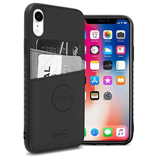 CoverON EDC Series iPhone XR Hülle, Kartenhülle mit magnetischer KFZ-Halterung, kompatibel mit Platte und Kartenfächern für Apple iPhone XR (15,1 Zoll), schwarz Apple-platte