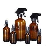 Botellas vacías de cristal ámbar en aerosol, recipiente rellenable para aceites esenciales, productos de limpieza o pulverizador de aromaterapia con ajustes de vapor y flujo