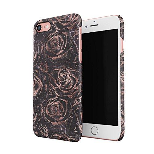 Rose Gold Roses On Black Marble Custodia Posteriore Sottile In Plastica Rigida Cover Per iPhone 7 & iPhone 8 Slim Fit Hard Case Cover Rose Gold Roses