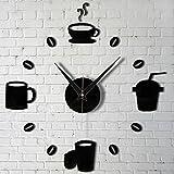 philna12negro DIY moderna decoración del hogar taza de café reloj de pared para cocina silencioso reloj adhesivos