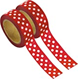 Party Pro 80810 Washi Tape à Pois, Papier, Rouge, 4,5 x 4,5 x 1,5 cm