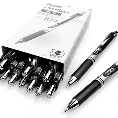 Pentel Energel Xm BL77–Retractable Liquid-Gel Ink Pen–0.7mm–54% recycelt –, schwarz, 12Stück