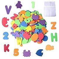nuosen Bath Letters Numbers Foam 36-pcs Alphabet Baby Bath Toys with Bath Toy Storage Net Mesh Organizer (33X46CM)