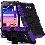 Purple - Huawei Ascend Y550 Zweischichtige starke, stoßfeste Hülle in Superqualität mit Bildschirmschutz & versenkbarem Eingabestift (stoßfest – Hülle – hart – Schutz – robust) von Gadget Giant®