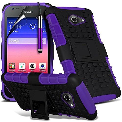 Purple - Huawei Honor Holly Zweischichtige starke, stoßfeste Hülle in Superqualität mit Bildschirmschutz & versenkbarem Eingabestift (stoßfest – Hülle – hart – Schutz – robust) von Gadget Giant®