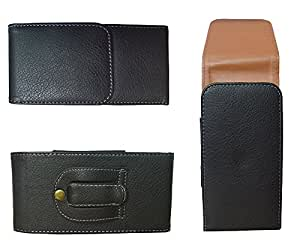 TOTTA Vertical PU Leather Belt pouch For Intex AquaY2- BLACK