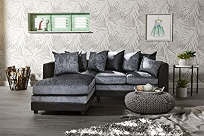 BYRON CORNER 2+3 CHENILLE FABRIC AND FAUX LEATHER SOFAS, ARMCHAIR, SWIVEL CHAIR, FOOTSTOOL in BLACK and GREY