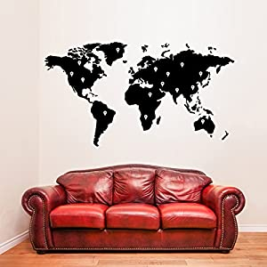 (180x 99cm) vinilo adhesivo de pared Mapa del Mundo con Google Topos/Tierra Atlas Shiluette Art Decor Adhesivo/Extraíble BRICOLAJE Hogar Mural + Gratis Al azar adhesivo Regalo