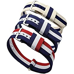 Ritche 3pc 20mm Nato Ss Nylon Striped Blue /White,blue/white/red,navy Blue/coffee Replacement Watch Strap Band
