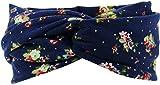 Harrys-Collection Damen Haarband oder Stirnband in 5 Farben mit Blumen, Farben:marine, Kopfgröße:Einheitsgröße