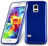 Cadorabo DE-104638 Samsung Galaxy S5 Mini / S5 Mini DUOS (G800F) Handyhülle aus TPU Silikon in gebürsteter Edelstahloptik (Brushed) Blau