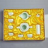 CUPWENH Zibo Luqun Celadon Thé Kung Fu Thé Théière En Céramique Tasses Mer Bol Couvercle Ensemble De Boîte-Cadeau,Services À Café Thé Service De Table Porcelaine