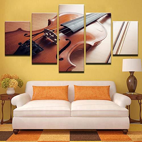 ASDZXC Leinwand Hd Drucke Foto Wohnzimmer Hauptdekorationen 5 Stücke Violine Musikinstrumente Gemälde Wandkunst Modulare Poster (Musikinstrumente, Gemälde)