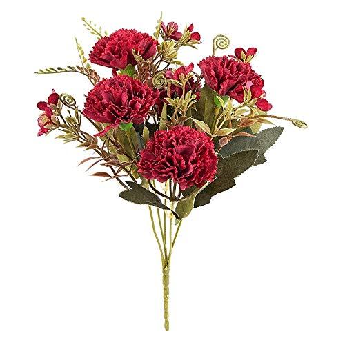 Ideen mit Herz Künstliches Blumenarrangement | Blumenstrauß | Blütenbusch | verschiede Blumen und Farben, 28 cm hoch, Blüten Ø ca. 3-4 cm (Rot, Nelken)