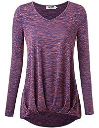Djt Femme T-Shirt Col V Manches Longues Leger Plisse Asmetrique Tunique Top