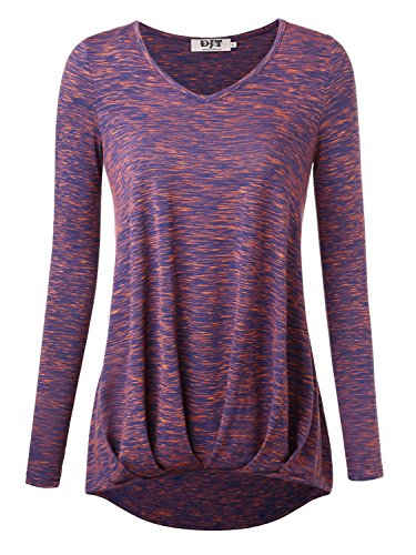 DJT Damen Casual Bluse Langarm T-Shirt Tops mit V-ausschnitt Lila-Blau Large