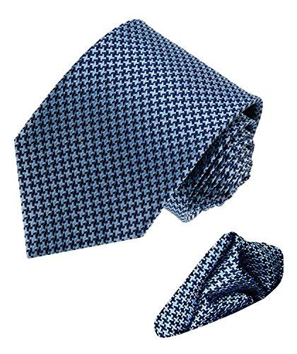Lorenzo Cana - Business Set aus 100% Seide : Krawatte und Einstecktuch hellblau dunkelblau Hahnentritt Muster - 8449501