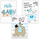 3er-Set Kinderposter für Babyzimmer DIN A4 Fine-Art