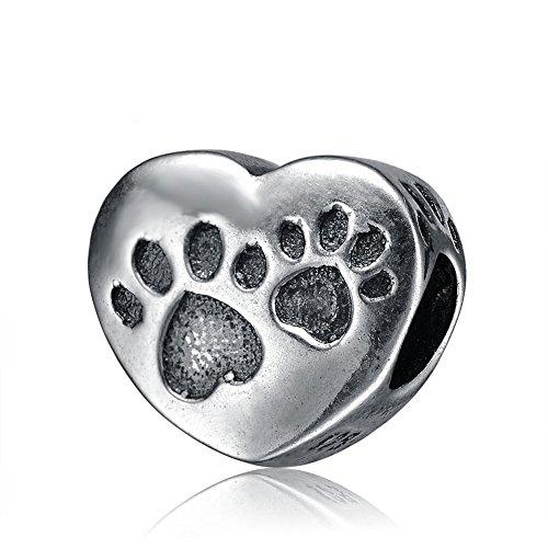 Huella de perro Etiqueta colgantes plata de ley 925colgante de corazón de huella de perro Animales huella Bead