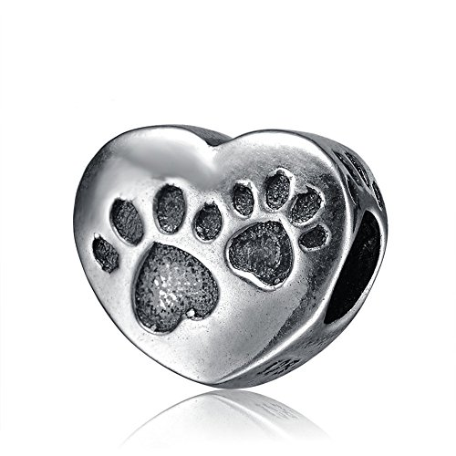 Charm in argento sterling 925 con motivo a orme di cane heart