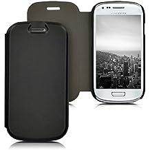 kwmobile Étui de protection à rabat pratique et chic pour > Samsung Galaxy S3 Mini < en noir
