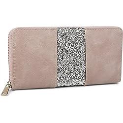 styleBREAKER monedero con rayas de lentejuelas alrededor, cremallera, cartera, señora 02040056, Color Beige-rosa