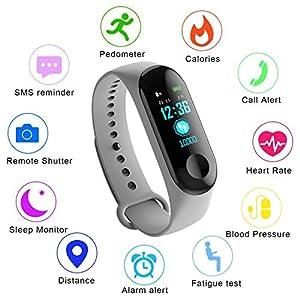 WISHDILO Pulsera de seguimiento de actividad física, monitor de ritmo