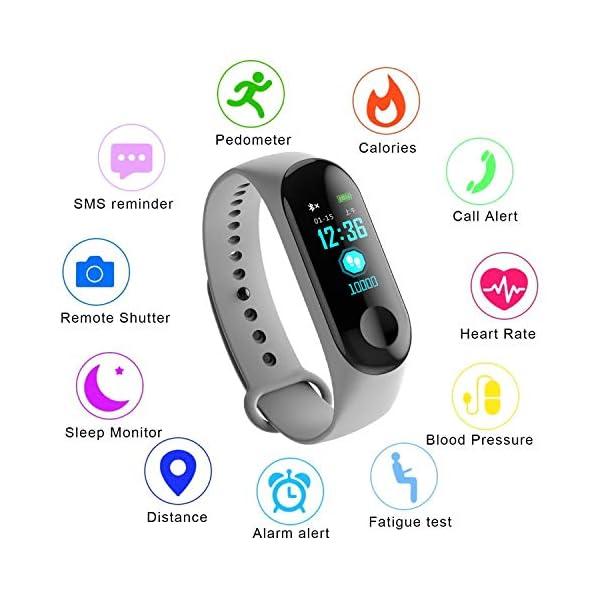 WISHDILO Pulsera de seguimiento de actividad física, monitor de ritmo cardíaco, pulsera inteligente para deportes al aire libre, podómetro impermeable con monitor de sueño para niños, damas y hombres, pulsera deportiva para contador de calorías 1