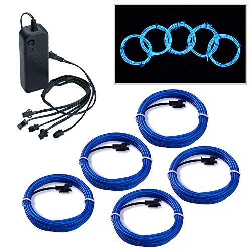 Covvy Cable LED Tira de Luces de Neon Flexible de 5 * 1 M Alimentado 3 Modos de Funcionamiento, Perfecto para Decoración de Coche, Fiestas, Disfraz de Carnaval