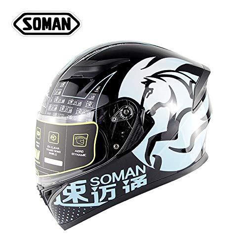 SOMAN Motorrad Motorrad Motorrad kleine Full Face Scooter Helm mit Flip Front Double Visor, Removable Lining, Top/Front Air Vents & Protective Cover,XL(61~62cm) (Front Vent Top)