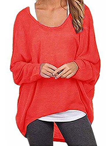 Elevesee Damen Lose Asymmetrisch Jumper Sweatshirt Pullover Bluse Oberteile Oversize Tops (40, Rot)